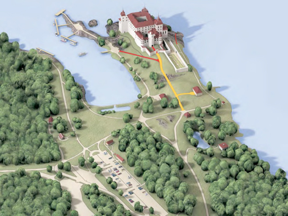Le plan du site indique clairement en rouge les cheminements à forte pente.