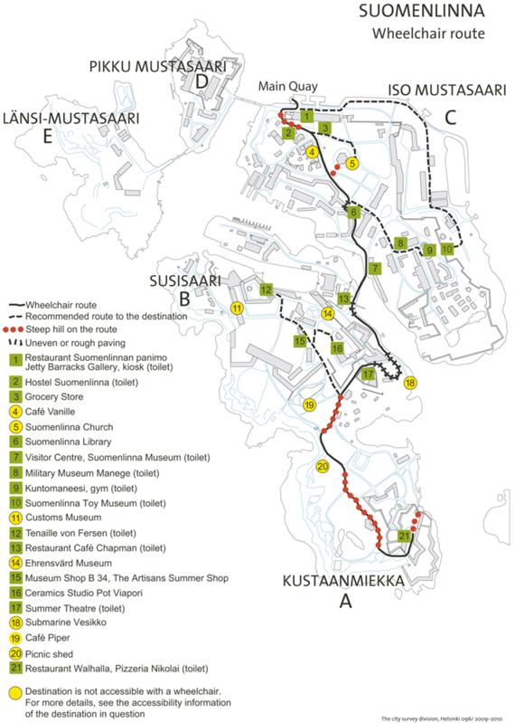 Le plan du cheminement recommandé donne des informations précises sur l'accessibilité et les obstacles existants.