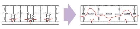 La mutation de la cellule du logement vers un espace d'exposition, plan schématique