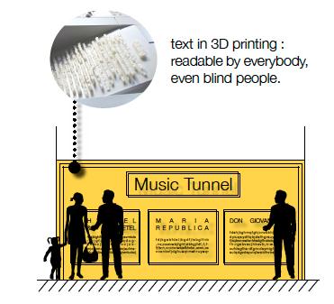 Un texte explicatif en 3D est installé sur les murs