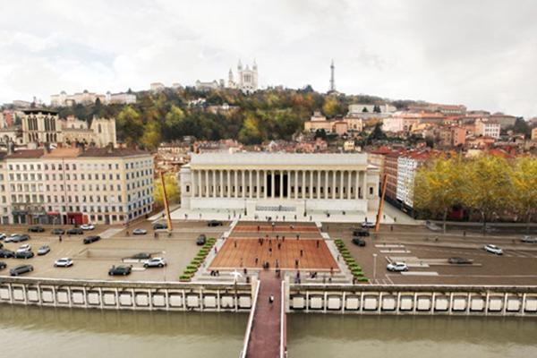 Vue aérienne du palais de justice de Lyon