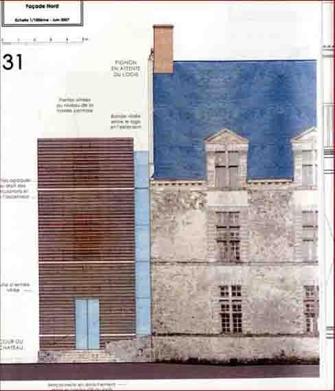 Façade nord de l'extension conçue par l'architecte en chef des monuments historiques.