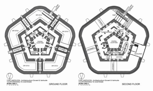 Fort Napoléon. Plans des 1ier et 2e étages.
