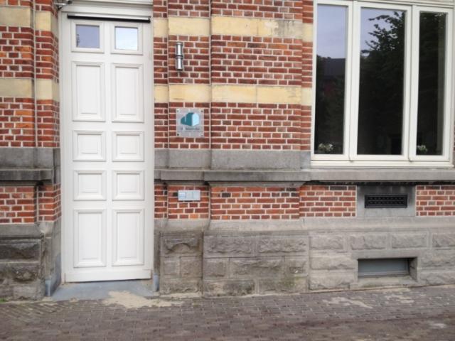 Front door and window in the restored front facade