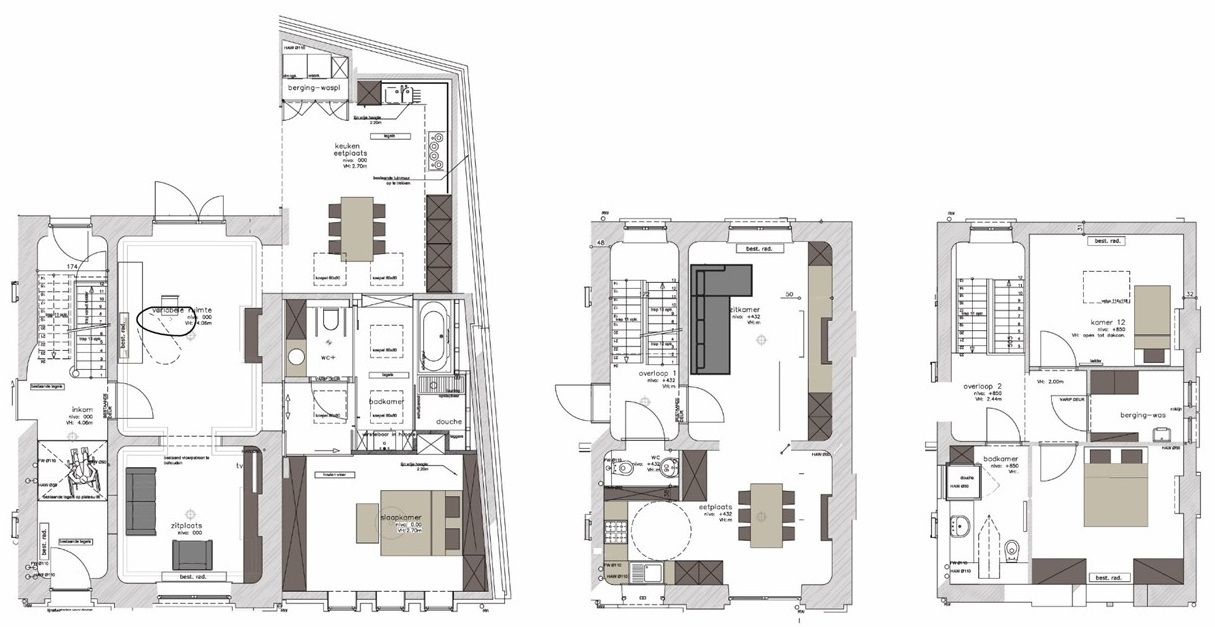 Floor plans of the lower and the upper floor dwelling units