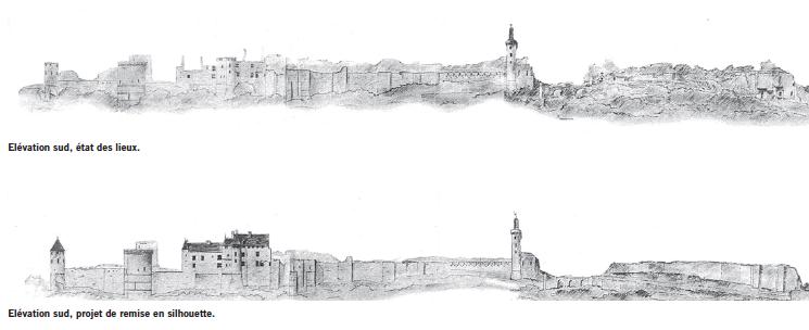 Elévations sud, avant et après travaux projetés. Crédit photographique : Arnaud de Saint-Jouan, extrait de la publication AMC n°171.