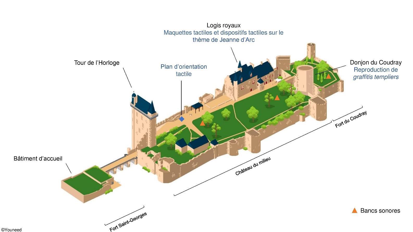 Axonométrie de l'ensemble du site. Crédit photographique : Forteresse Royale de Chinon.