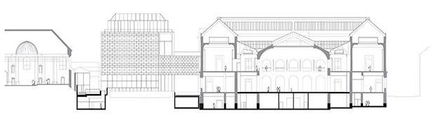 Coupe sur les trois séquences du musée : la Chapelle, le jardin intérieur et le Cube en arrière plan, et le Palais. Crédit : Stanton Williams.
