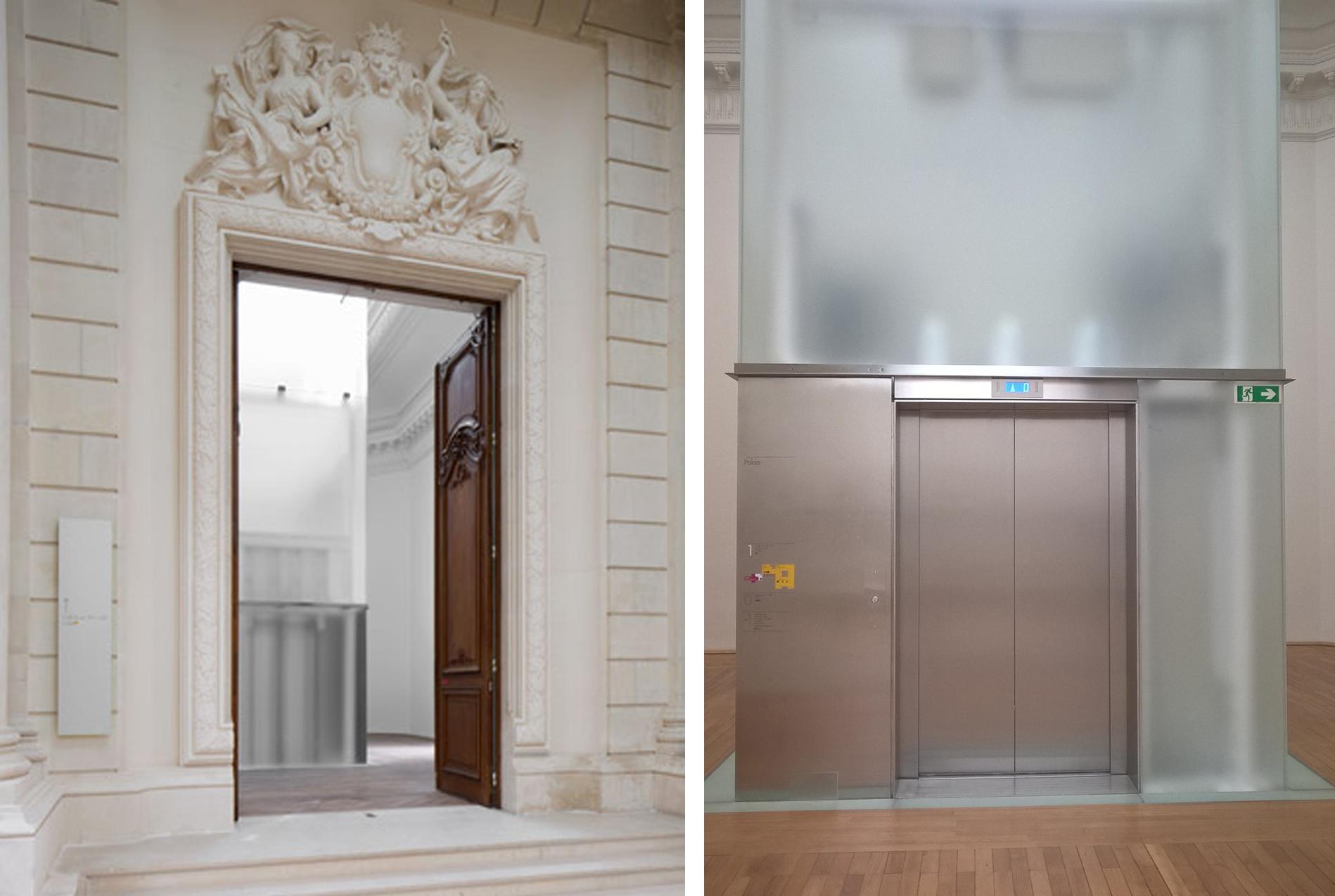 Intégration de l'ascenseur dans le bâtiment existant. Crédit photographique de la photo 1 : Stefano Graziani. Crédit photographique de la photo 2 : Clémentine Laurent-Polz.