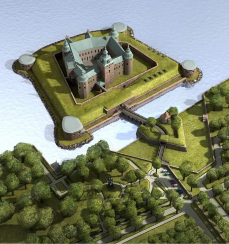 Ariel view of the Kalmar Castle on its small island and bridged connection with the main land. Copyright : Waern Architects AB