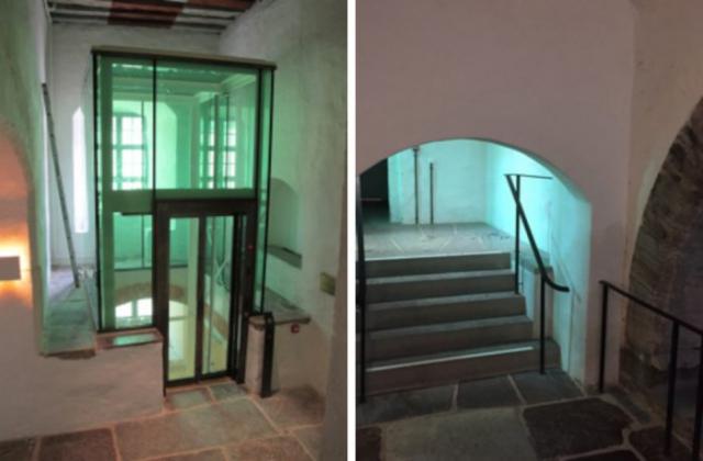 The glazed shaft for the new elevator. Photo: Richard Edlund Kalmar läns museum.