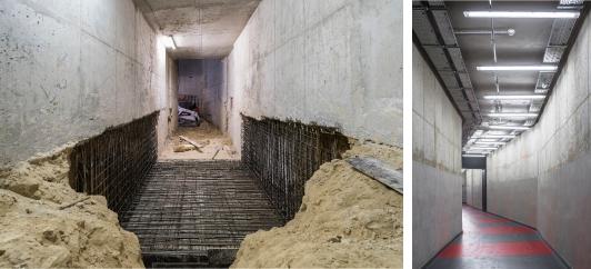 Création de larges couloirs de desserte technique, aux stades chantier (à gauche) et final (à droite). Crédit photographique : Agence Brossy&associés