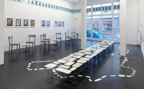 "The art gallery and coffee shop refitted for the ""X-Süd Stadtvisionen"" (Urban Visions) exhibition. A KAT18 artist designed the ""X"" logo of the exhibition that had been on show on two locations in Cologne. Photo: Simon Vogel"
