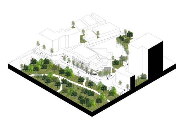 Axonométrie du projet et insertion dans son contexte urbain. Crédit : Brossy et associés.