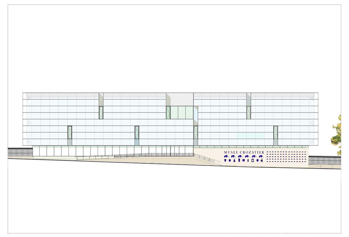 Façade sur rue et intégration de la rampe d'accès. Crédit photographique : Beaudouin-Husson