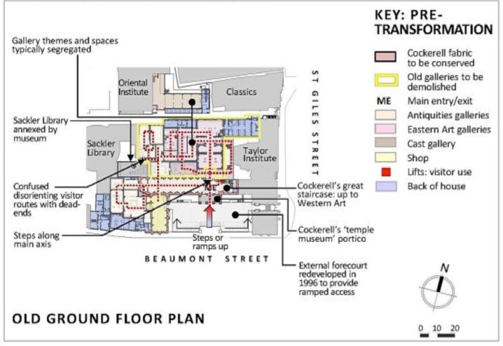 Fig. 3. Ashmolean Museum pre-transformation: Old Ground Floor Plan showing some of the old exhibition's design issues (2003).