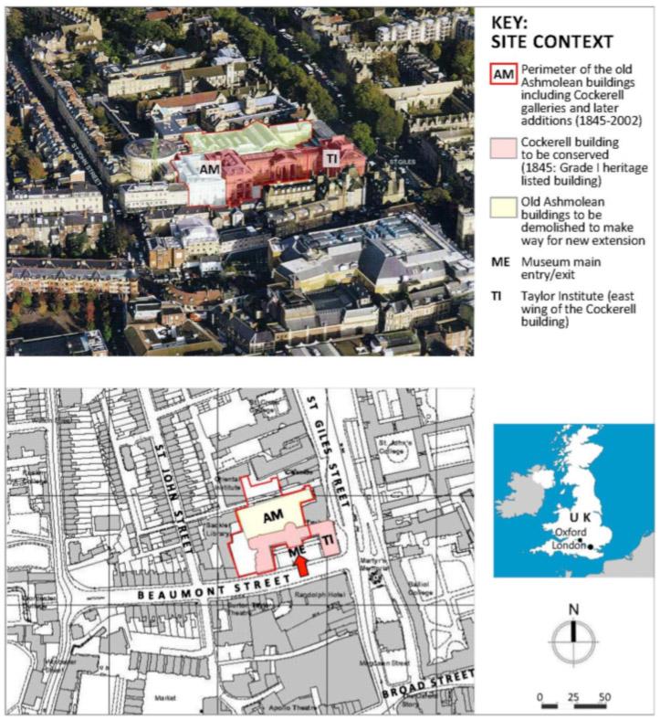 Fig. 2. Le musée Ashmolean avant les travaux : vue aérienne du musée et de son environnement (en haut)), et un plan du site (en bas), illustrant le bâtiment de Cockerell à être conservé (en rose) et des structures non classées, démolissables (en jaune) pour faire place à une extension moderne (2003).