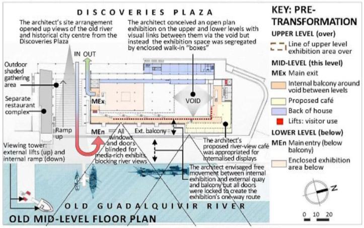 Fig.3. Le Pavillon de la Navigation lors de l'Expo '92 : plan de l'étage intermédiaire (1992), illustrant le manque d'harmonie entre l'architecture du pavillon et la conception de l'exposition.