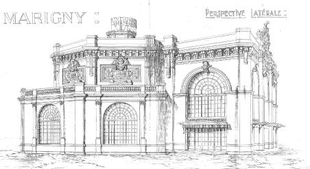 Grimaldi, Théâtre Marigny, extrait du premier projet refusé, perspective latérale. Source : Archives de la Ville de Paris, VSM872