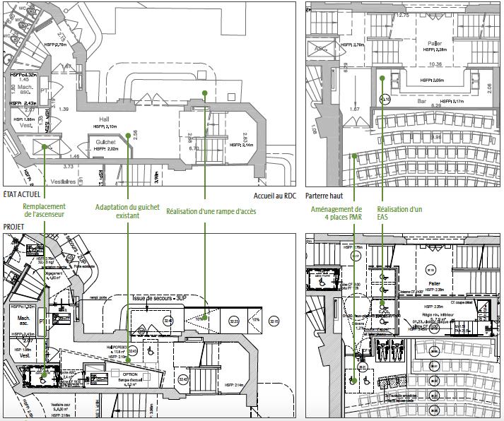 Plans des aménagements créés pour l'accessibilité de la salle Popesco. Crédit : Clé Millet International, extrait de la notice architecturale.