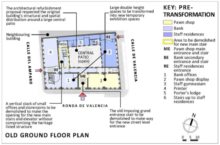 Fig. 4. La Casa Encendida: ground floor plan of Casa de Empeños, pre-transformation (2001).13