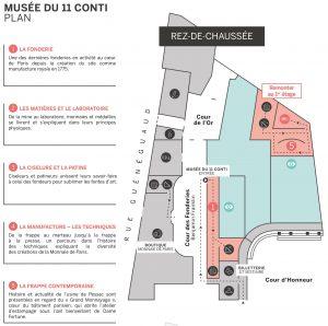 Extrait du plan donné aux visiteurs. Crédit : Monnaie de Paris