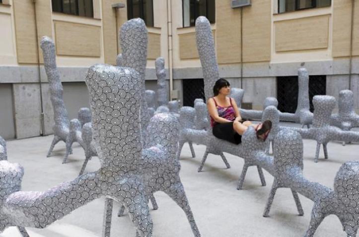 """Fig. 8. La Casa Encendida post-transformation: """"100 metre bench"""" by El Último Grito in the central patio."""
