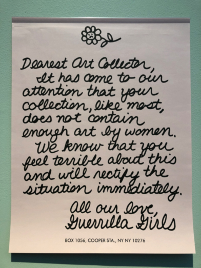 "One of the posters in the ""Way beyond Art"" exhibition challenging gender inequality in art institutions, by the ""Guerrilla Girls"" feminist activist artists. Photo Marcus Weisen."