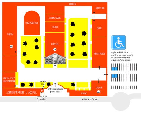 Plan schématique de La Ferme du Buisson. Crédit : La Ferme du Buisson